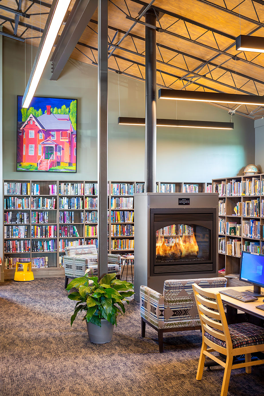 commercial library Fireplace